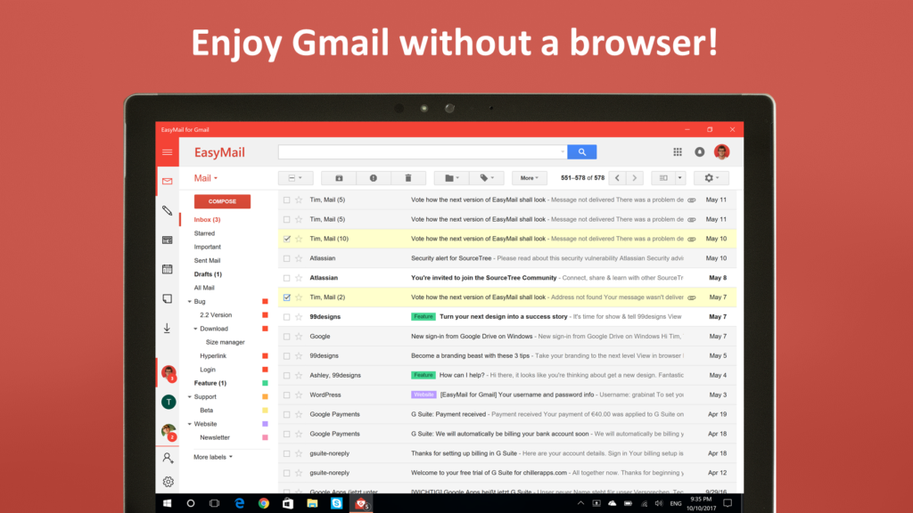 EasyMail for Gmail - Your desktop client for Windows 10 - Free App